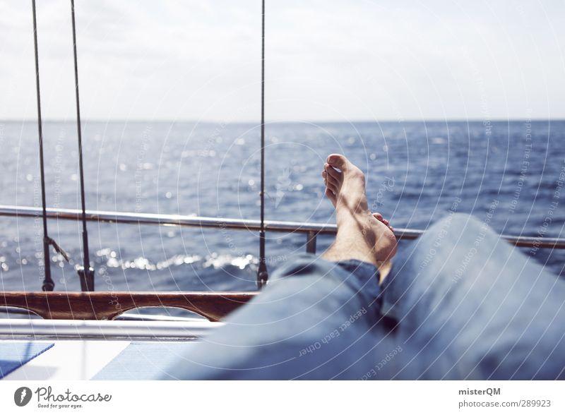 Moving Silence. blau Ferien & Urlaub & Reisen Meer ruhig Erholung Fuß Horizont liegen Wasserfahrzeug Freizeit & Hobby Lifestyle ästhetisch Pause Segeln Schifffahrt abgelegen