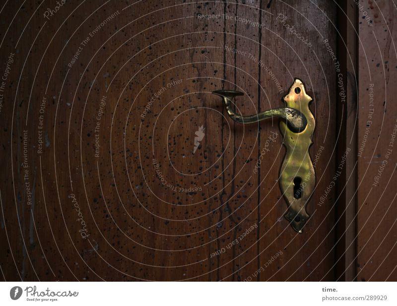 echt. Häusliches Leben Wohnung Innenarchitektur Dekoration & Verzierung Raum Tür Griff Messing Holz Metall alt authentisch dunkel historisch nachhaltig
