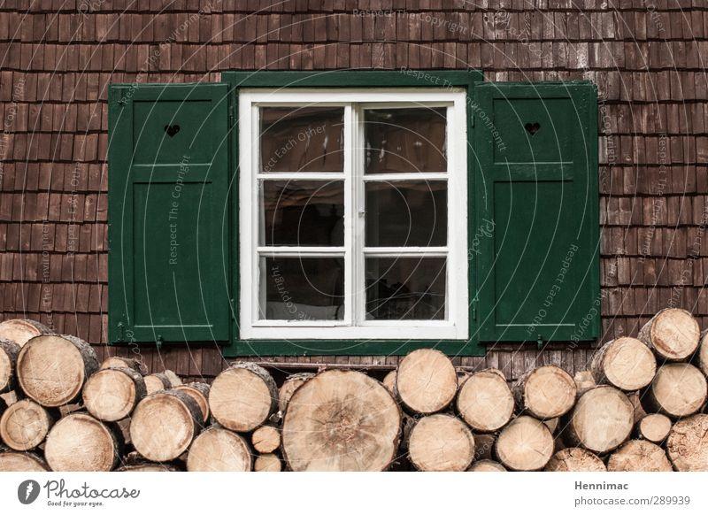 Der Winter kommt bestimmt. Wohnung Haus Herbst Hütte Gebäude Fassade Fenster Holz Glas Häusliches Leben alt natürlich braun grün weiß ruhig Heimweh Einsamkeit