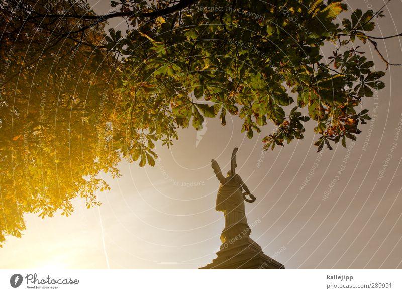 glory days Mensch Körper 1 Herbst Baum Begeisterung Ehre Tapferkeit Macht Tatkraft Sieg Engel Flügel Kranz lorbeerkranz Statue Kunst Kultur Sockel alt
