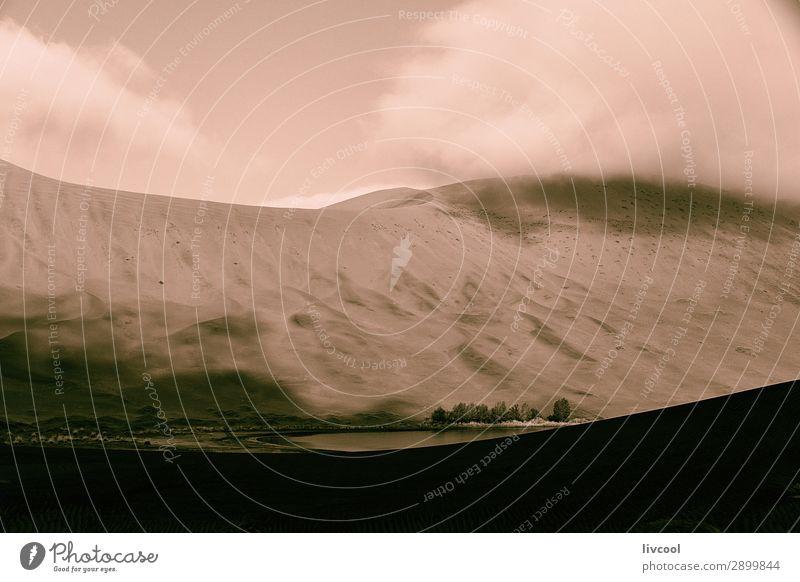 Wolken und Schatten über der chinesischen Wüste Erholung Natur Landschaft Urelemente Sand Himmel Park Hügel Seeufer Linie authentisch schön einzigartig trocken