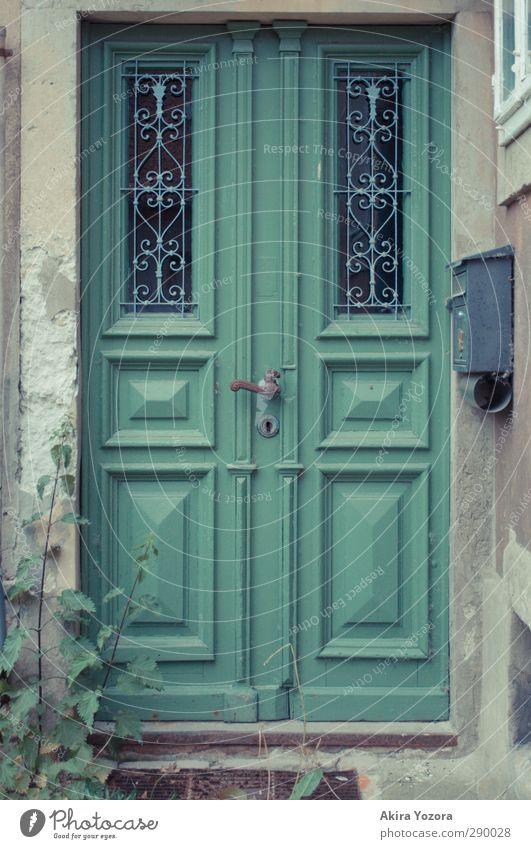 Tschüss, 2012! alt grün Pflanze Tür geschlossen trist Eingang Briefkasten altmodisch