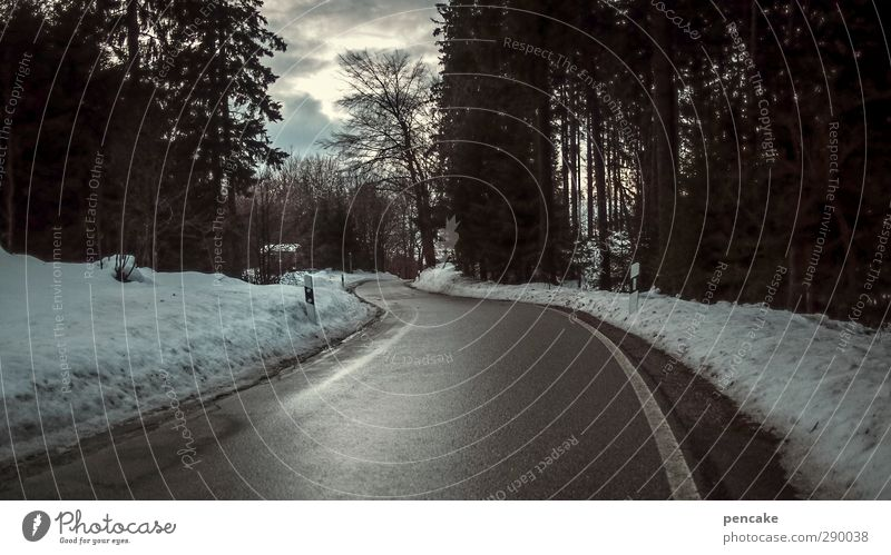 auf ins unbekannte land Natur Wolken Landschaft Straße Schnee Wege & Pfade Klima Zukunft anonym vernünftig