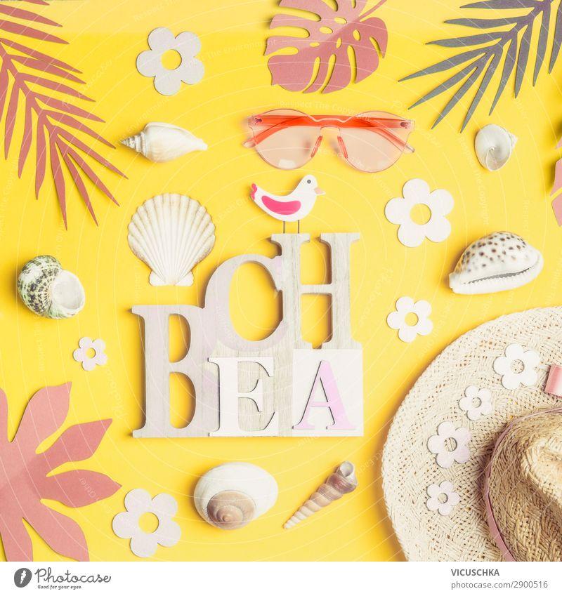 Strand Accessoires: Strohhut, Sonnenbrille, Muscheln Ferien & Urlaub & Reisen Sommer Lifestyle gelb Stil Party Mode Design Dekoration & Verzierung Sommerurlaub