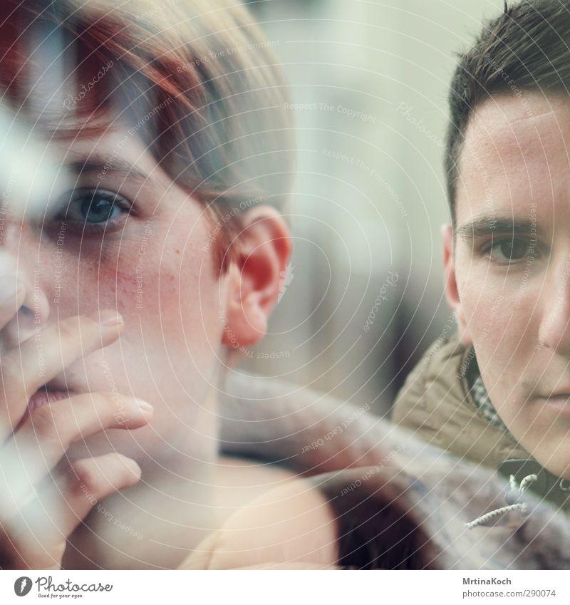 2fach. Mensch Frau Mann Erwachsene feminin Paar Freundschaft Zusammensein maskulin Kraft Erfolg Macht nah Doppelbelichtung Willensstärke Geschwister