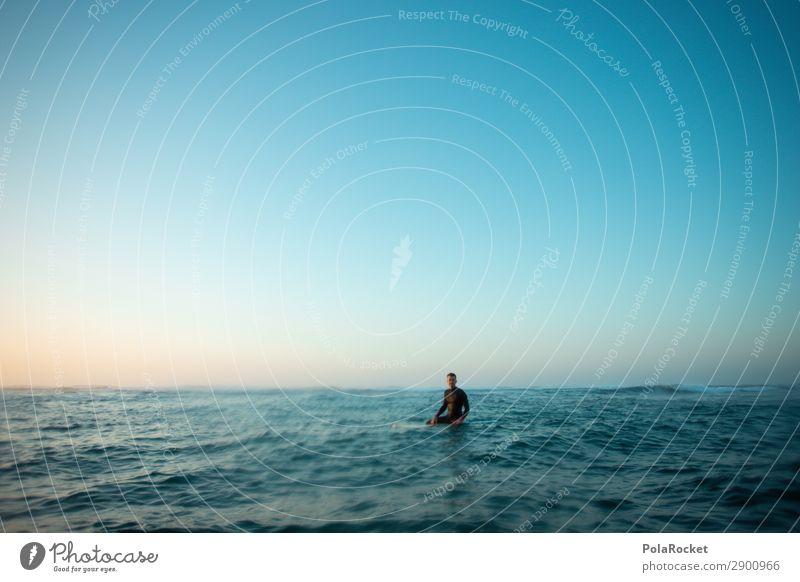 #A# waiting Kunst ästhetisch Surfen Surfer Surfbrett Surfschule Wassersport Extremsport Mann maskulin Momentaufnahme ruhig sitzen warten Wellengang Meer