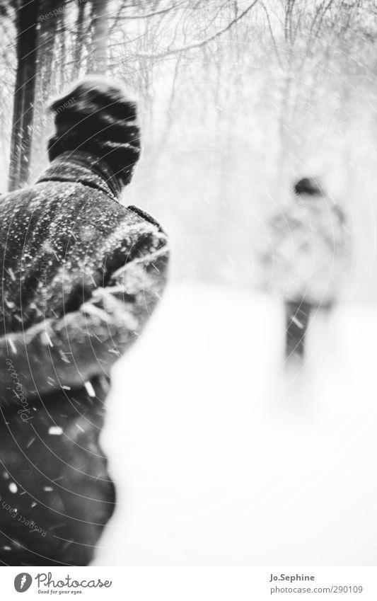 cold Mensch 2 Winter Wetter Schneefall Wald Mantel Mütze gehen laufen kalt lensbaby Spaziergang Schwarzweißfoto Außenaufnahme Tag Unschärfe