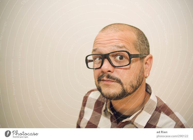Bist du dir da sicher!?!? Mensch Jugendliche Erwachsene Gesicht Auge Junger Mann Kopf 18-30 Jahre maskulin Behaarung Fröhlichkeit Coolness Brille Neugier Bart Hemd