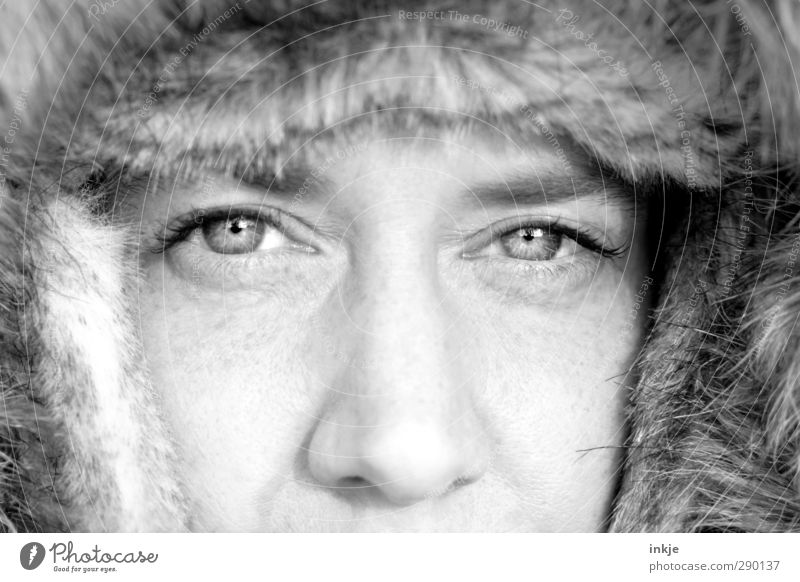 mama, its cold outside Stil Winter Frau Erwachsene Leben Gesicht Auge 1 Mensch 30-45 Jahre Fell Mütze Pelzmütze Blick kalt kuschlig Wärme weich Schutz