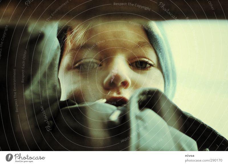 Blick eines Jungen im Winter Kind maskulin Kleinkind Kindheit Leben Körper Haut Kopf Haare & Frisuren Gesicht Auge Nase Mund Lippen Arme 1 Mensch 3-8 Jahre