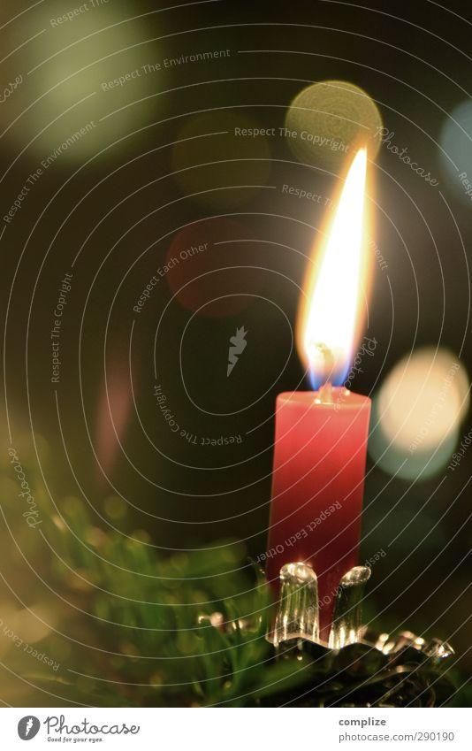 letzte Weihnachten Feste & Feiern Weihnachten & Advent glänzend Häusliches Leben grün rot Zeit Weihnachtsbaum Weihnachtsdekoration Kerze Unschärfe Farbfoto