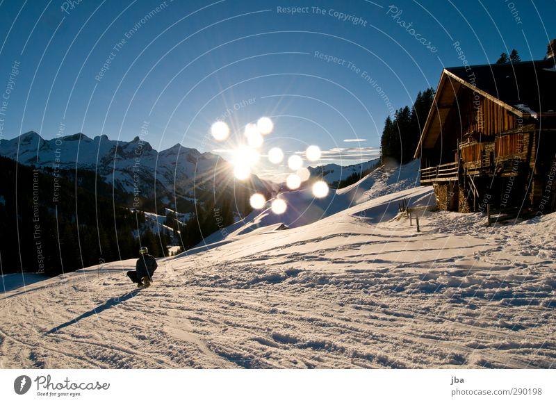 letzte Fahrt Mensch Natur Jugendliche Wasser Winter Berge u. Gebirge Schnee Leben Sport Bewegung maskulin Treppe Schönes Wetter Ausflug Urelemente Alpen