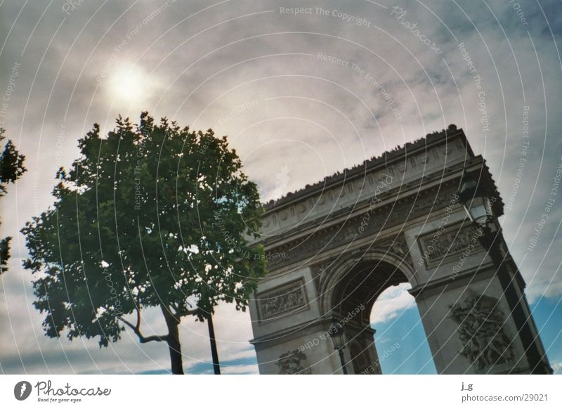 Triumphbogen Frankreich Paris Wahrzeichen Ferien & Urlaub & Reisen Wolken Architektur Bogen triumpf Tor