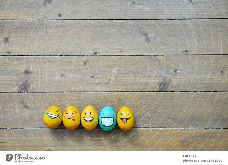 egg-familie IV Ei Osterei bemalt Kunst Ostern Tradition Feste & Feiern Smiley lachen Witz Humor lustig Freude Gesicht Clique Unsinn Holz Blume Frühling