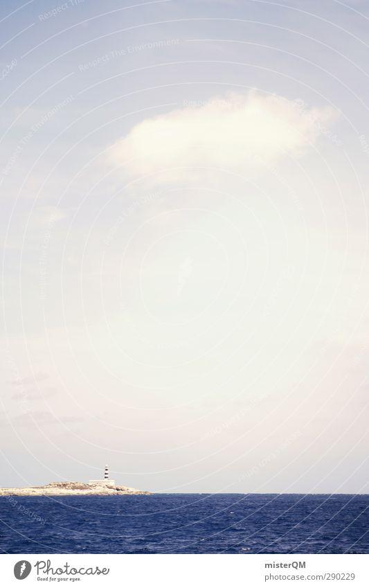 Land in Sicht. Ferien & Urlaub & Reisen Himmel (Jenseits) Meer Wolken Strand Küste Kunst ästhetisch Insel Leuchtturm Wellengang Urlaubsfoto Ibiza Urlaubsstimmung Festland