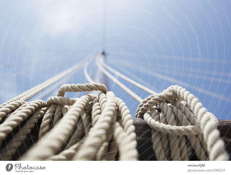 Setzt die Segel! Kunst Abenteuer ästhetisch Zufriedenheit Sommerurlaub Schifffahrt Segelboot Segeln Knoten Reling Himmel (Jenseits) Ferien & Urlaub & Reisen