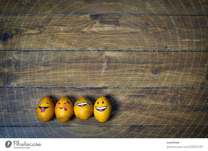 egg-familie III Ei Osterei bemalt Kunst Ostern Tradition Feste & Feiern Smiley lachen Witz Humor lustig Freude Gesicht Clique Unsinn Holz Blume Frühling