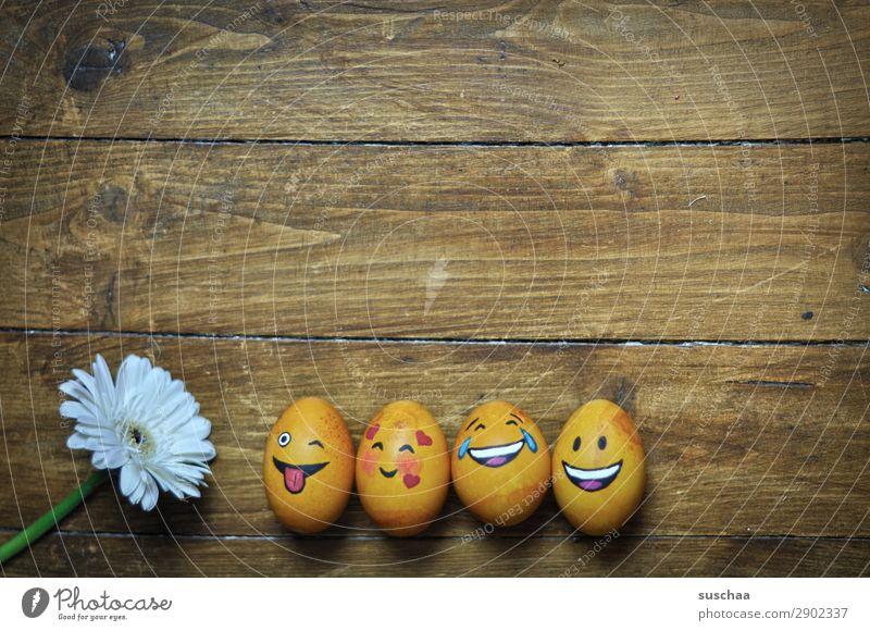egg-familie Ei Osterei bemalt Kunst Ostern Tradition Feste & Feiern Smiley lachen Witz Humor lustig Freude Gesicht Clique Unsinn Holz Blume Frühling