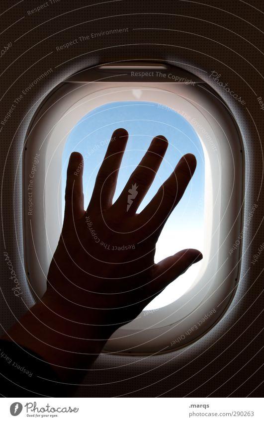 Fernweh Ferien & Urlaub & Reisen Tourismus Abenteuer Ferne Freiheit Hand Finger Fenster Verkehr Luftverkehr im Flugzeug Zeichen fliegen Gefühle Sehnsucht