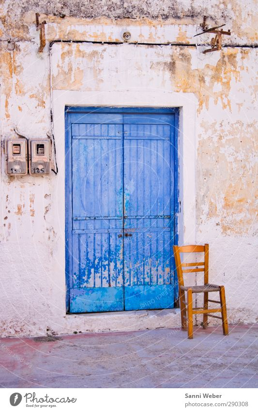 bluemotion blau Ferien & Urlaub & Reisen Sommer Erholung Haus Ferne Wand Mauer Denken orange Fassade sitzen Zufriedenheit Insel beobachten Hoffnung