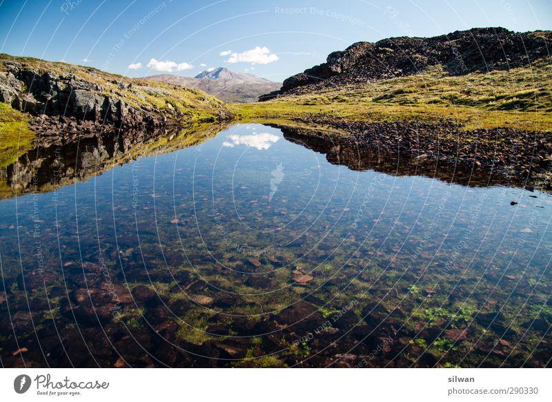 Green(mirror #I)land Himmel grün Wasser schön Wolken Landschaft Herbst Stein Horizont Schönes Wetter Gipfel Klarheit Unendlichkeit Teich Grönland Seegras