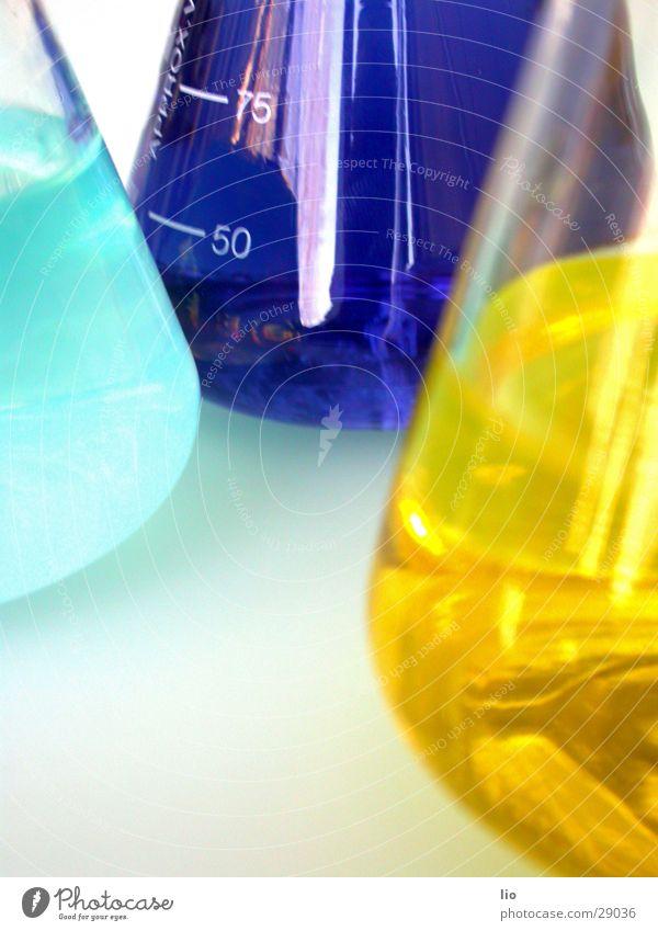 3e Erlenmeyerkolben Experiment Labor gelb hell-blau Wissenschaften Chemie Versuch Sauerkraut Glas