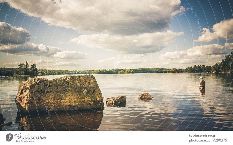Immeln Mensch Natur Jugendliche blau Ferien & Urlaub & Reisen Sommer Wolken Landschaft Erwachsene Junge Frau Umwelt Ferne Leben feminin Freiheit See
