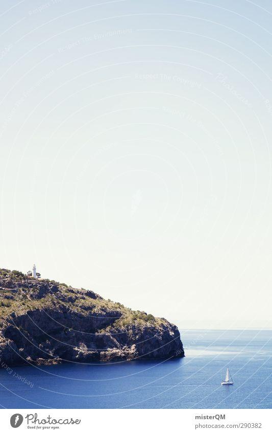 To The Cliffs. Kunst ästhetisch Natur Mallorca Spanien Soller Hafen Küste Klippe Segelboot Idylle mediterran Himmel (Jenseits) Paradies friedlich Insel Meer