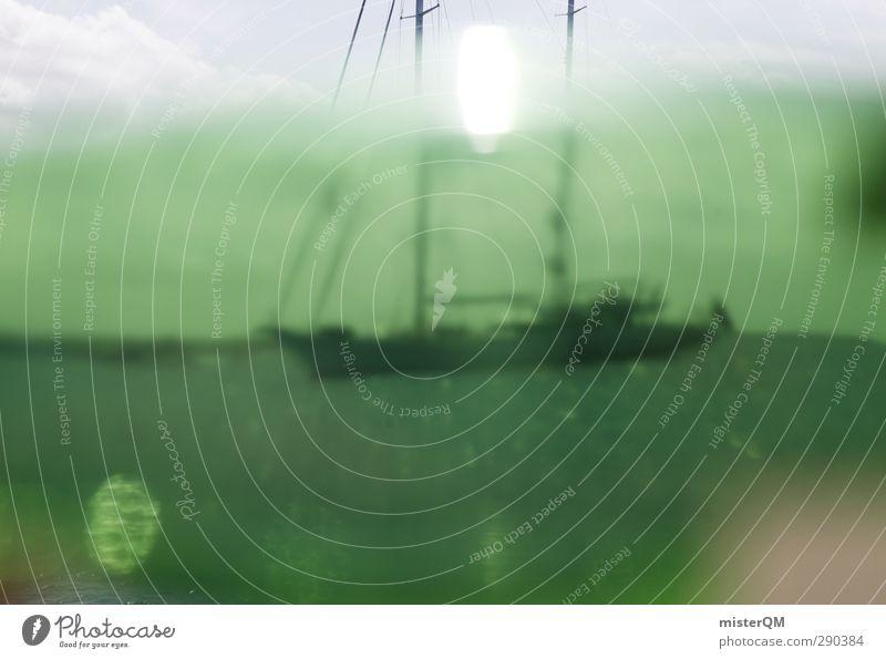 Buddelschiff. Ferien & Urlaub & Reisen grün Sonne Meer Erholung Kunst Wasserfahrzeug ästhetisch Schifffahrt Flasche Mittelmeer Segelboot Phantasie Urlaubsfoto