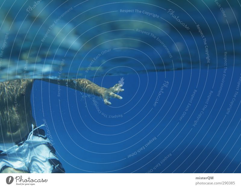 Into The Blue. Kunst ästhetisch Schwimmen & Baden Meer Meerwasser Meeresspiegel blau Hand sportlich Sommer Sommerurlaub sommerlich Sommertag Sommerferien