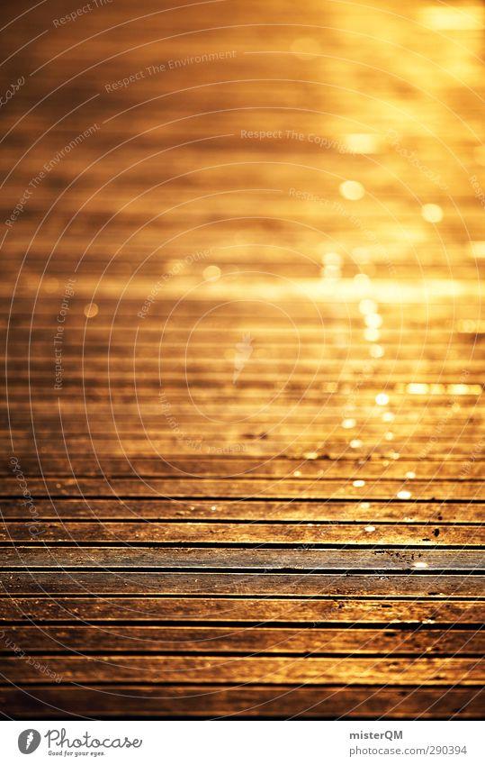 Goldene Tage. Kunst ästhetisch goldgelb Goldrausch Schwache Tiefenschärfe Romantik Idylle Anlegestelle Steg Schneidebrett Holzfußboden Urlaubsstimmung