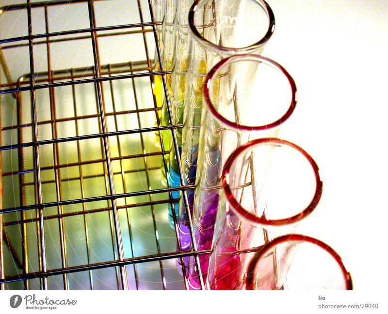 ringelchen Reagenzglas Experiment Wissenschaften Labor regenbogenfarben mehrfarbig Gitter ph-Werte Chemie Versuch Glas