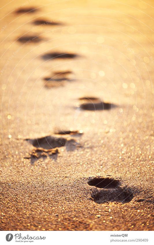 Creatures of my Dreams. Kunst ästhetisch Zufriedenheit Wellness ruhig abgelegen Einsamkeit Vergangenheit Ewigkeit gold Fußspur Spuren Sand