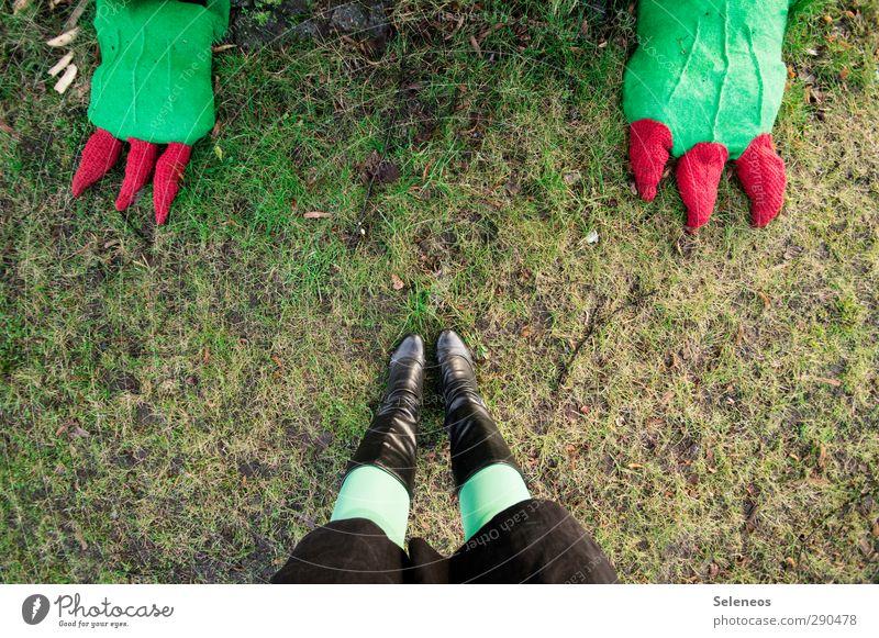 trau dich doch. Mensch Beine Fuß 1 Umwelt Natur Gras Park Wiese Rock Strumpfhose Schuhe Stiefel Tier stehen Zehennagel Drache Dinosaurier stricken Farbfoto