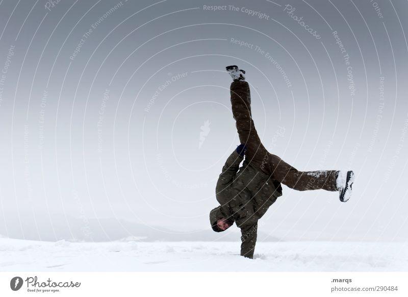 Haltung Mensch Himmel Natur Freude Winter Erwachsene Umwelt kalt Schnee Sport Eis außergewöhnlich maskulin Klima Ausflug Coolness