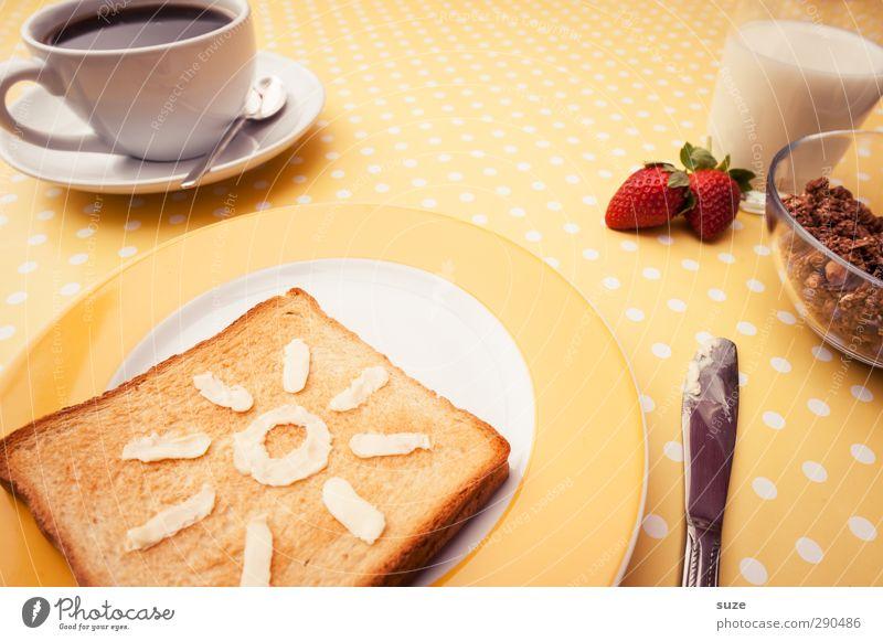 Frühstück bei Tiffany Sonne gelb Gesundheit Frucht Lebensmittel Glas Ernährung Getränk süß Kaffee Zeichen Idee Kreativität Freundlichkeit Foodfotografie lecker