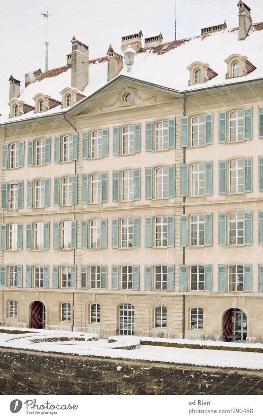 windows user Wolken Winter Eis Frost Schnee Bern Stadt Stadtzentrum Menschenleer Haus Hochhaus Palast Bauwerk Architektur Mauer Wand Fassade Fenster Tür
