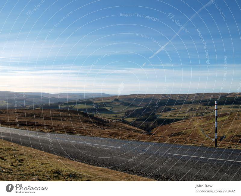 Roadtrippin | Weardale Ausflug Abenteuer Ferne Himmel Wolken Horizont Moos Wiese Feld Hügel Autofahren Straße Wege & Pfade Sehnsucht Heimweh Fernweh Freiheit
