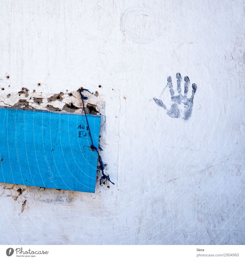 Hand drauf Fenster Leben Wand Mauer Fassade einzigartig geschlossen einfach Afrika Inspiration Abdruck gebunden
