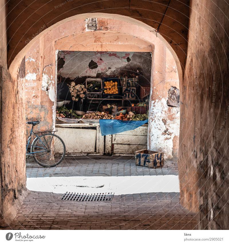 Gemüsehändler Lebensmittel Tourismus Ausflug Marrakesch Marokko Afrika Altstadt Verkehrswege Fahrradfahren Wege & Pfade einfach exotisch kaufen Außenaufnahme