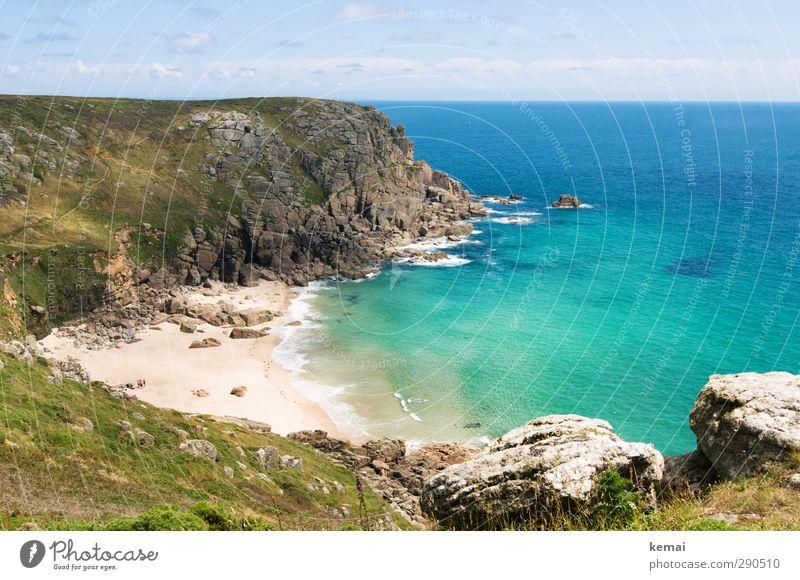 Visit Cornwall! Ferien & Urlaub & Reisen Tourismus Sommerurlaub Umwelt Natur Landschaft Pflanze Himmel Wolken Sonnenlicht Schönes Wetter Moos Hügel Wellen Küste