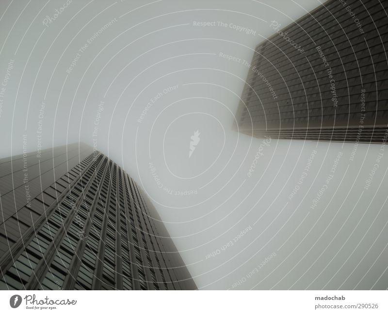 Gorillas im Nebel Stadt Hochhaus Bankgebäude Gebäude Architektur Fassade selbstbewußt Coolness Kraft Willensstärke Macht Mut Ausdauer Business Entschlossenheit
