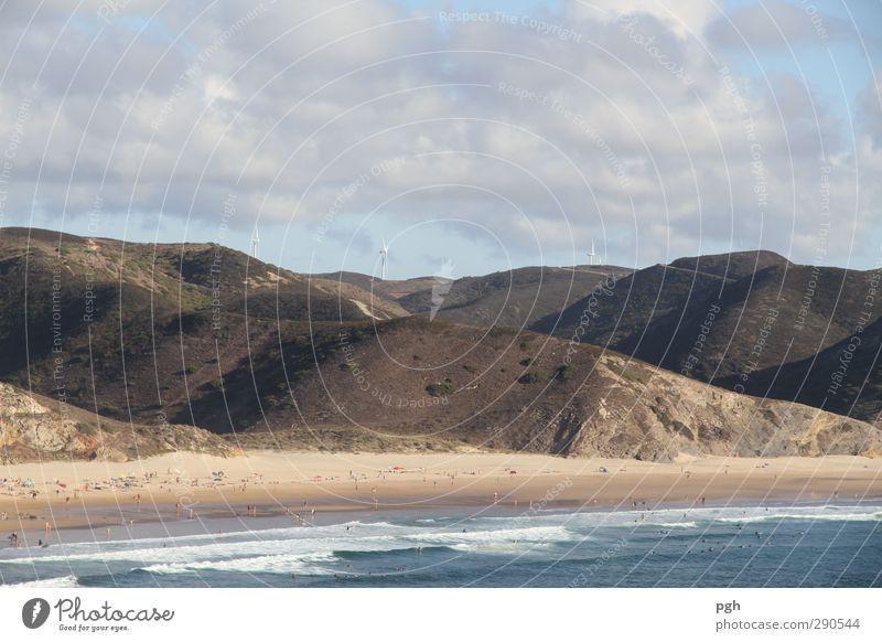 Wellenreiten Ferien & Urlaub & Reisen Sommer Sonne Meer Freude Strand Ferne Berge u. Gebirge Sport Spielen Küste Schwimmen & Baden Stimmung Wellen Wind Kraft