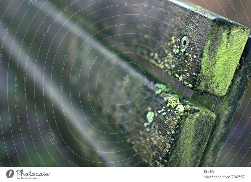lehne dich entspannt zurück Banklehne Holzbank anders anlehnen Lehne Sitzbank Parkbank Gartenbank morsch verwittert Moos Pause einfach grau Gelassenheit ruhig