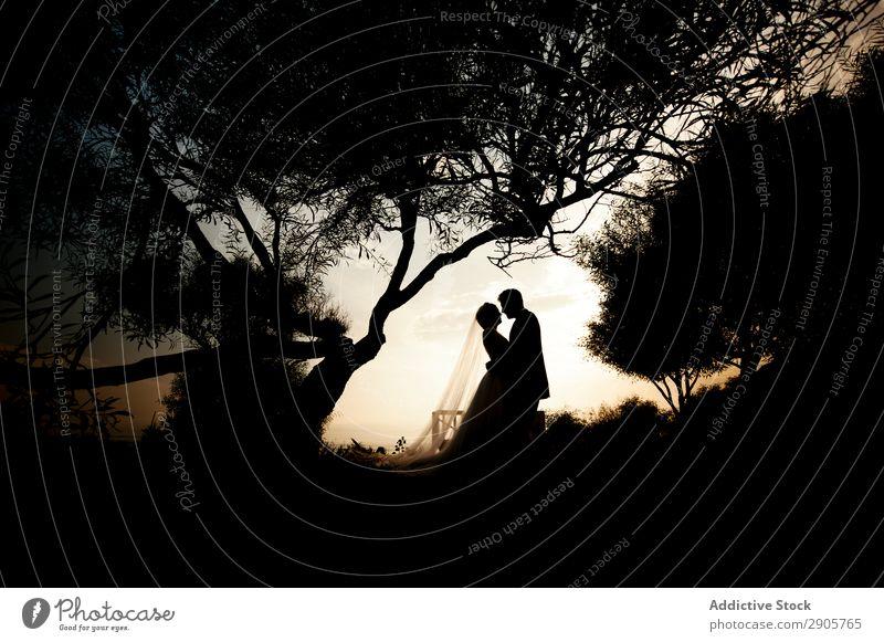 Ehe von Frau und Mann, die sich in der Dunkelheit umarmen. Jungvermählte Hochzeit Umarmen umarmend Nacht Park Paar Lifestyle Licht Fröhlichkeit romantisch