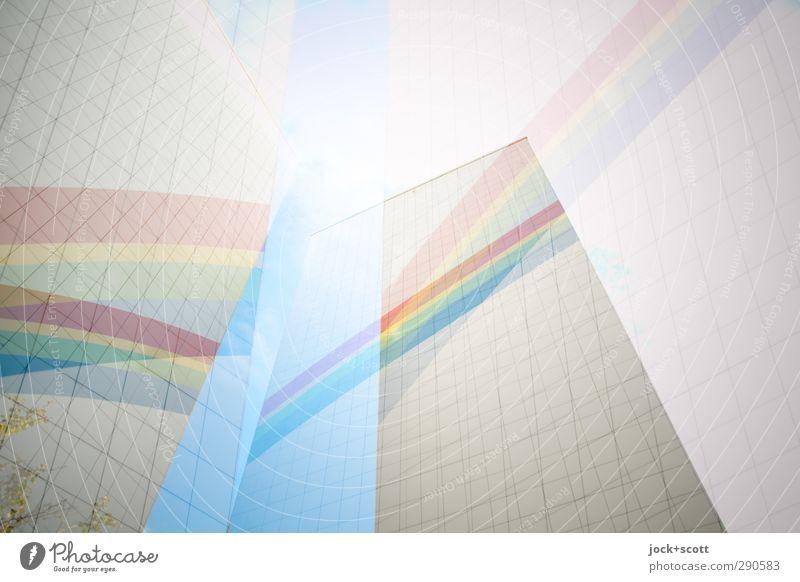 bunte Bögen Kunst Lichtenberg Haus Gebäude Plattenbau Fassade Sammlung Zeichen Linie Streifen wandern eckig frei hell hoch oben beweglich Hoffnung träumen