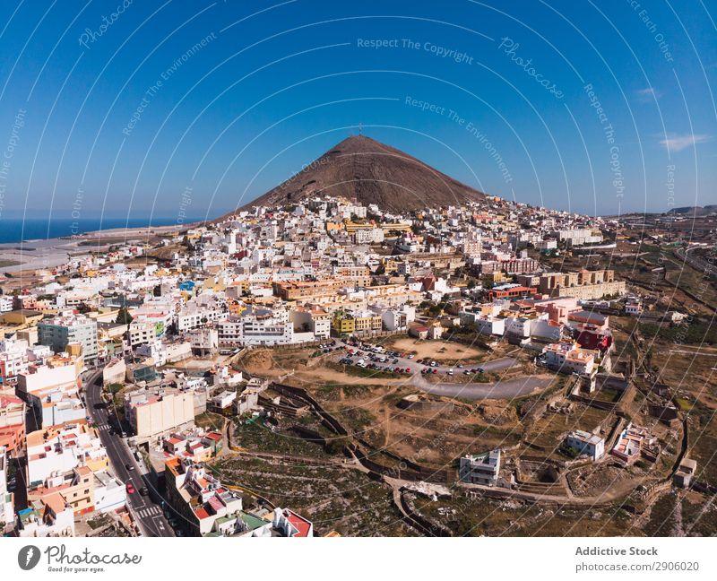 Stadtlandschaft an der Küste der Insel Großstadt Drohnenansicht abgelegen Fluggerät Gran Canaria Spanien malerisch Ferien & Urlaub & Reisen hell Landschaft