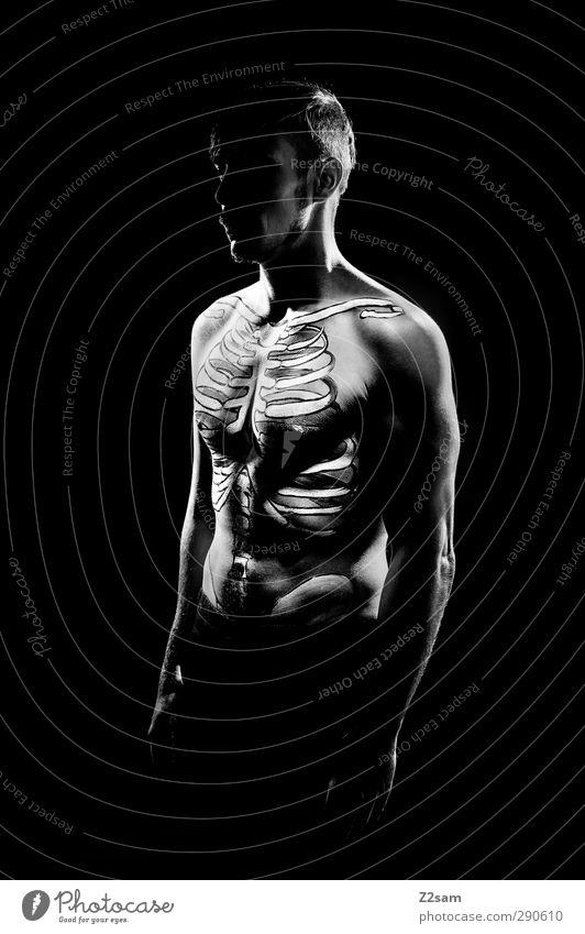 skeleton maskulin Junger Mann Jugendliche 1 Mensch 30-45 Jahre Erwachsene ästhetisch sportlich dunkel gruselig muskulös nackt trashig bizarr Gesundheit