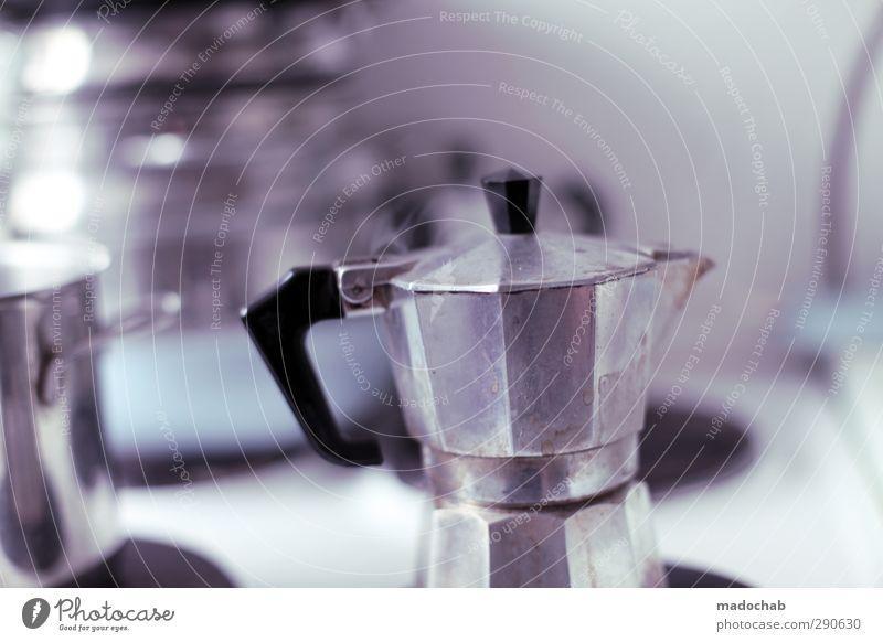Kochstelle kalt Metall Wohnung Lifestyle Häusliches Leben Ernährung Getränk ästhetisch trist Coolness Pause Kaffee genießen Küche trashig eckig