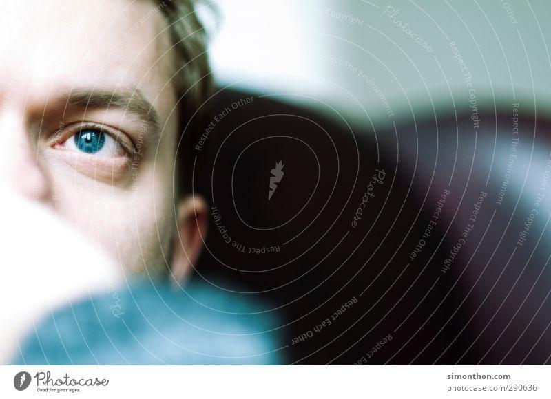 Blick maskulin Auge 1 Mensch 18-30 Jahre Jugendliche Erwachsene Zufriedenheit Stress Einsamkeit Erholung Enttäuschung Freizeit & Hobby Frieden Gefühle